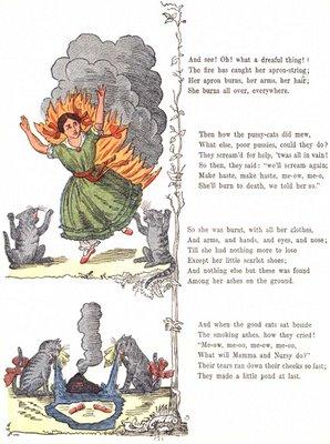 """Dibujo original del libro """"Struwwelpeter"""". Sí, la niña muere calcinada"""