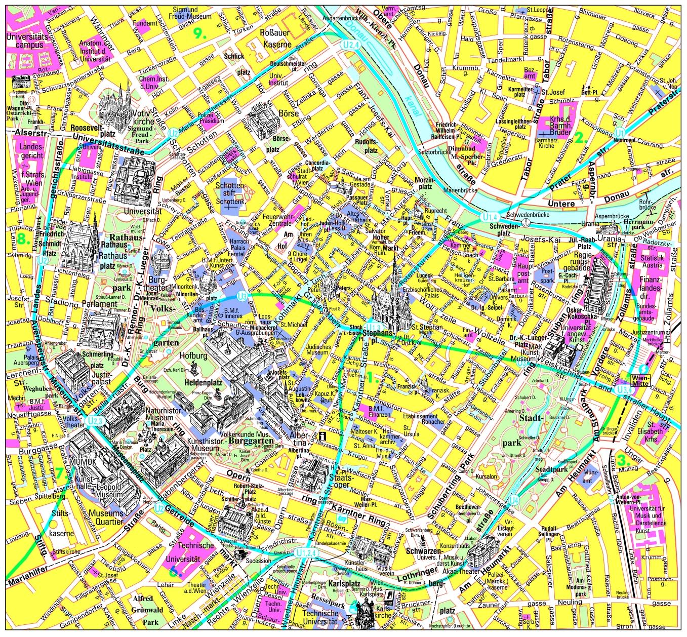 Mapa del centro de Viena