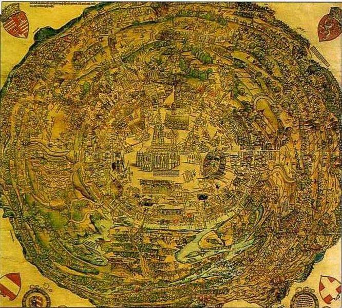 1529-1530 Plano circular de Viena. Xilografía, Museo de la Ciudad de Viena