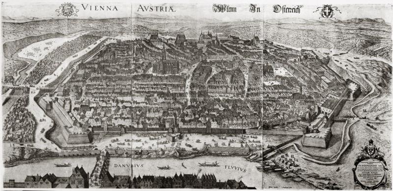 1609 Una de las primeras vistas de pájaro (desde el norte)