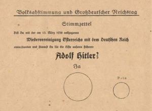 Papeleta para votar por la Anexión de Austria con Alemania